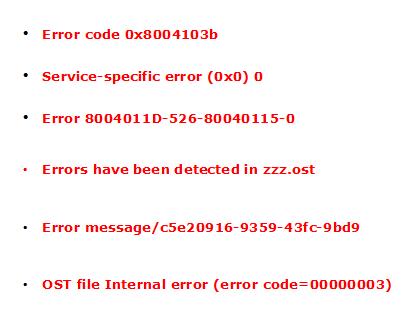 Outlook OST Errors