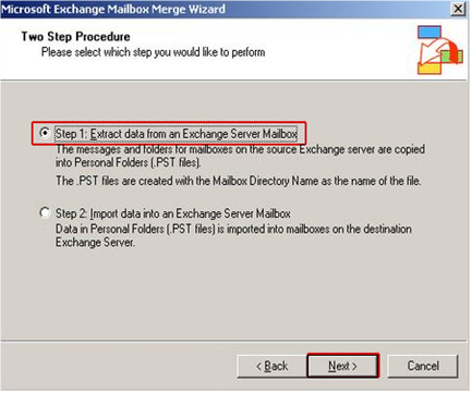 click on extract data radio button