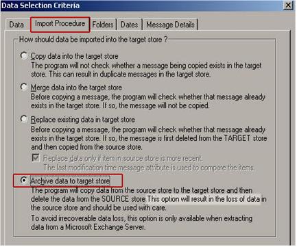 select import procedure button