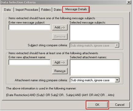select message details tab