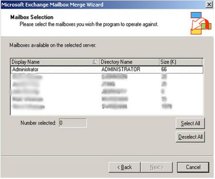 mailbox selection for exporting data