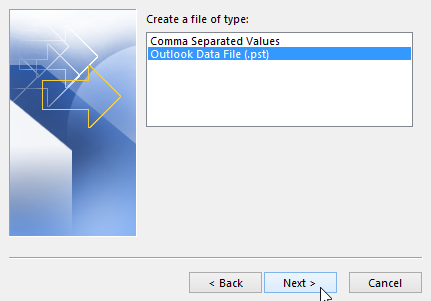 Import PST file to Outlook
