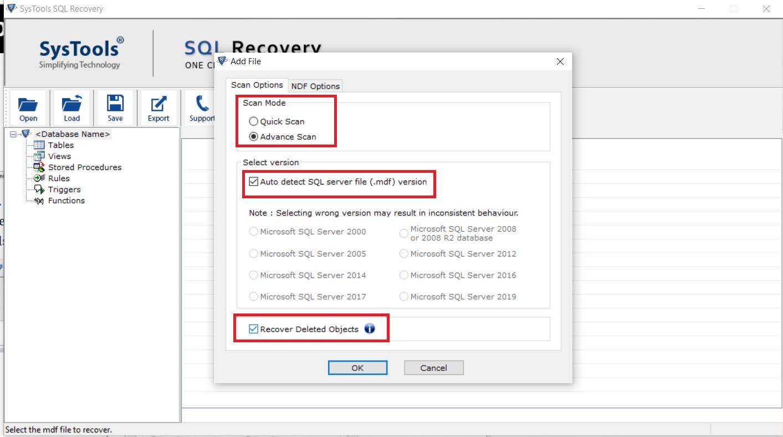 Repair SQL MDF file