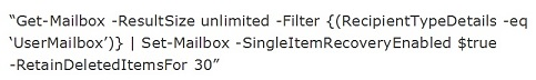 enable single item recovery in Exchange 2013-5