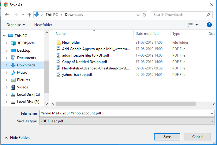 save yahoo email in PDF file
