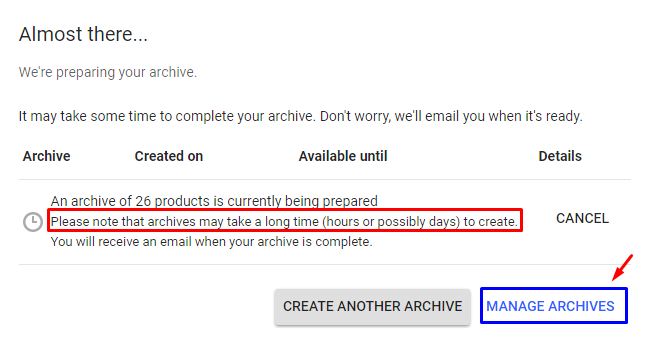 google takeout archive incomplete