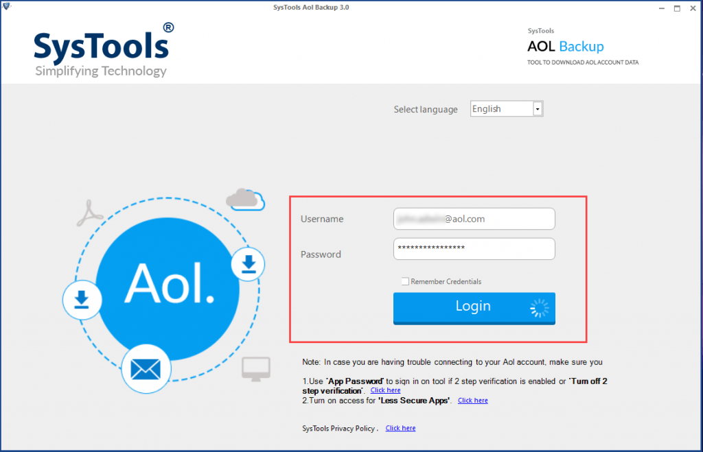 launch aol mail backup tool and login