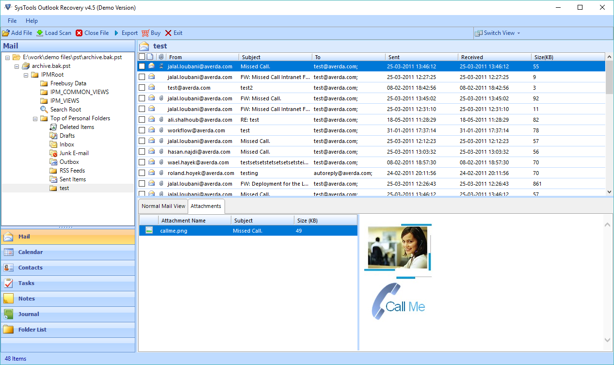 restore emails from  bak file of ms outlook 2016  2013