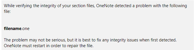 OneNote repair message