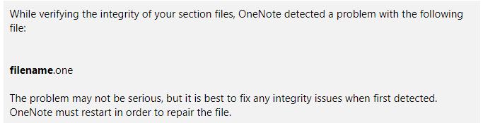 OneNote repair message
