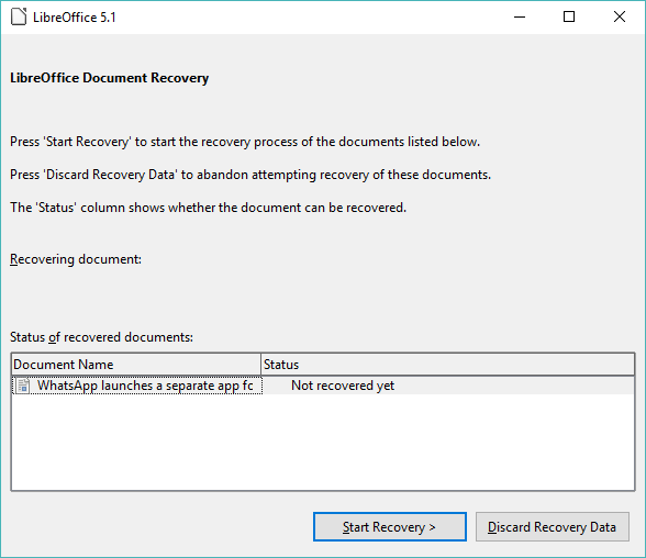 libreoffice recovery every time