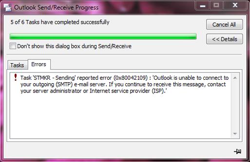 microsoft outlook error 0x80042109