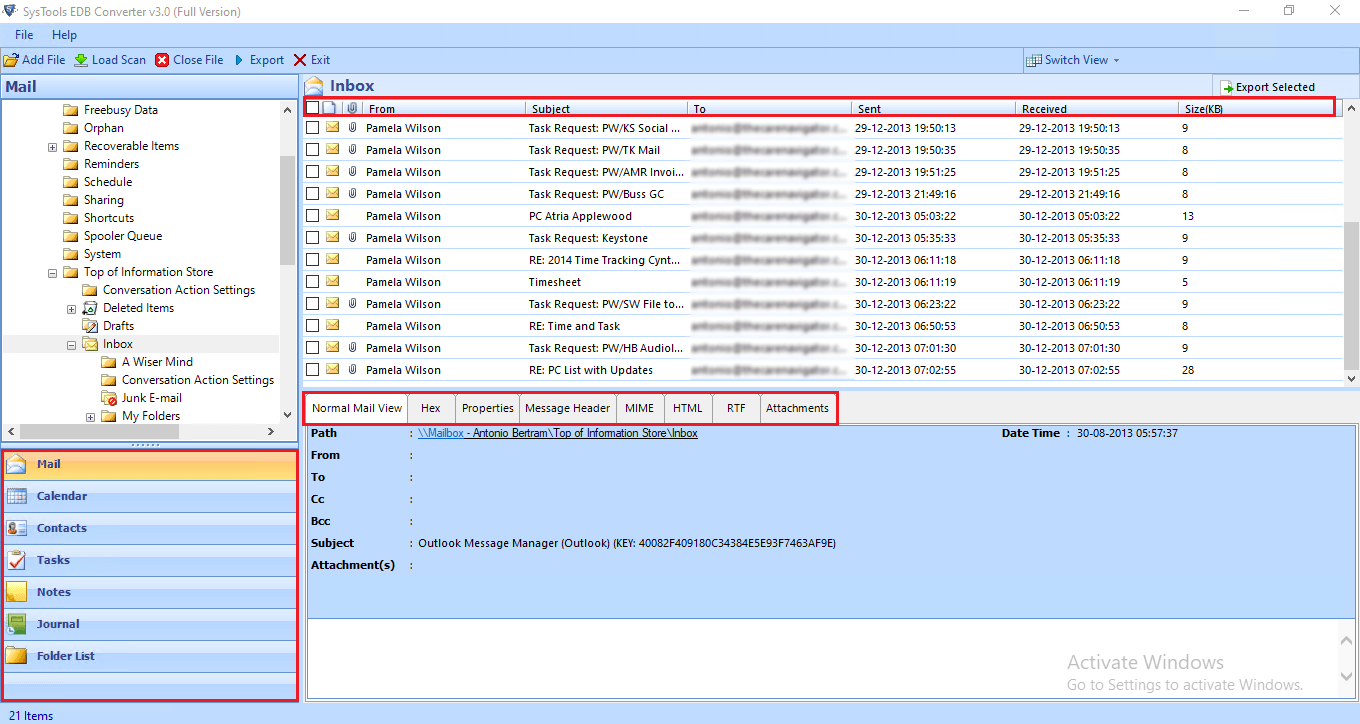 preview exchange EDB file, mailboxes and data items