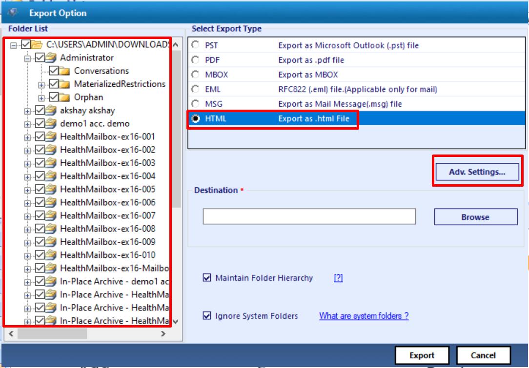 select exchange mailboxes or edb file