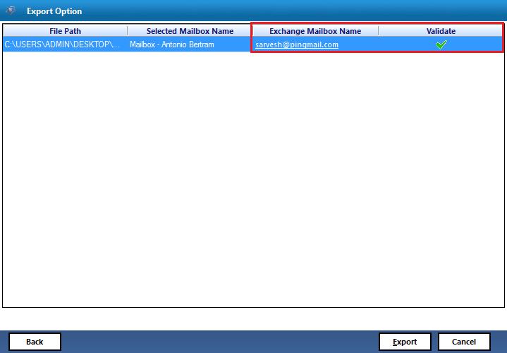 validate exchange mailboxes