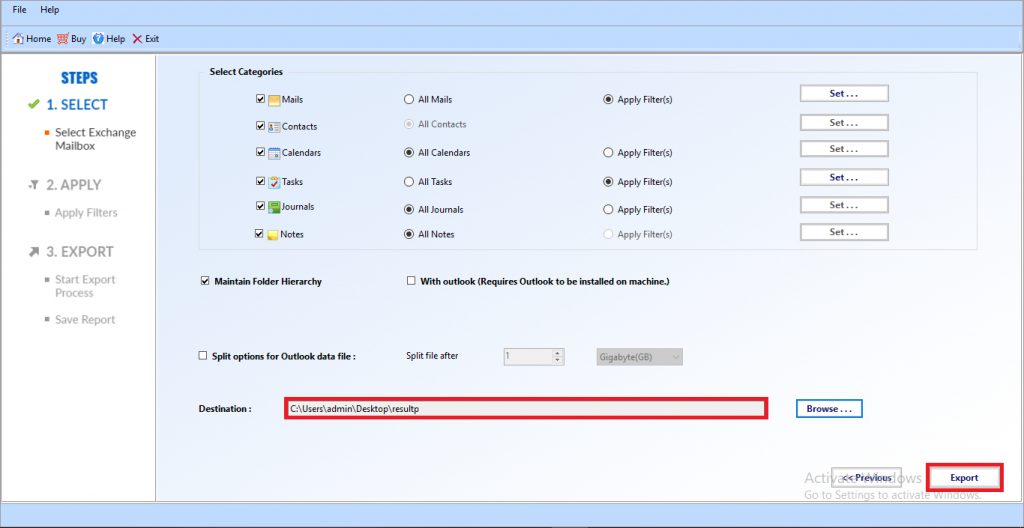 Export all Exchange 2010 Mailboxes to PST file of Specific