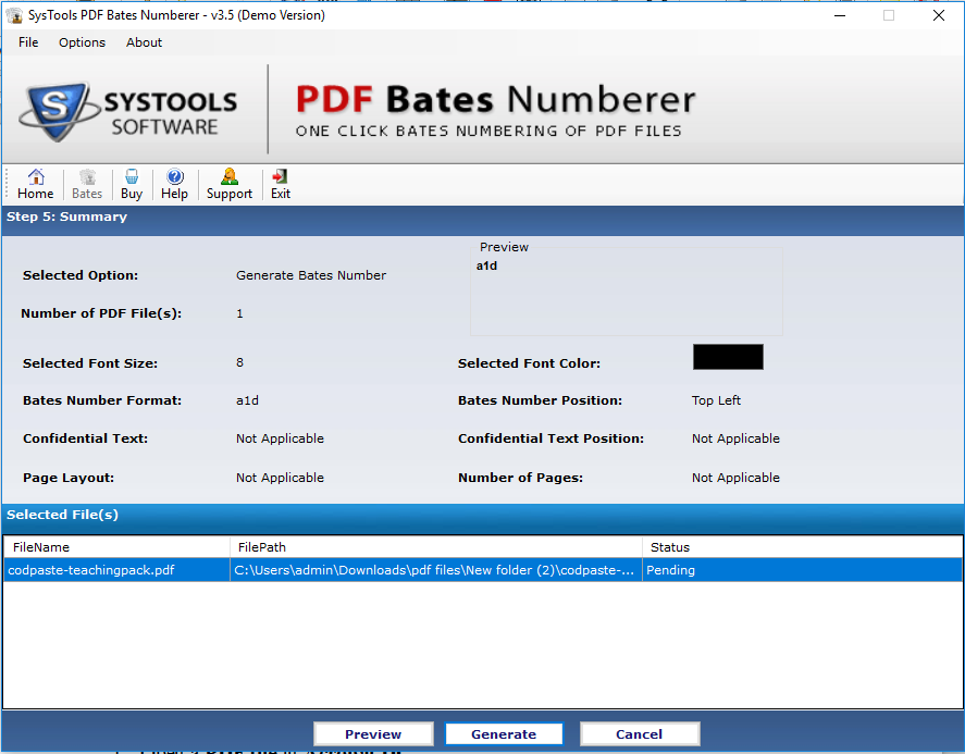 Generate Bates on PDF file pages