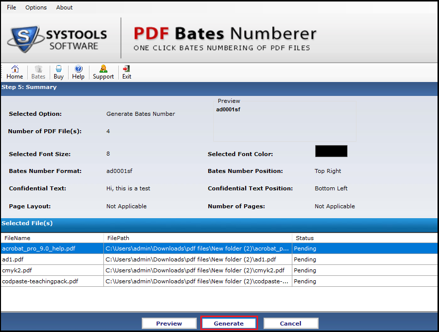 Click Generate to add Page numbers to PDF files