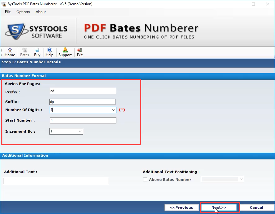 Format page numbers in PDF document to be displayed