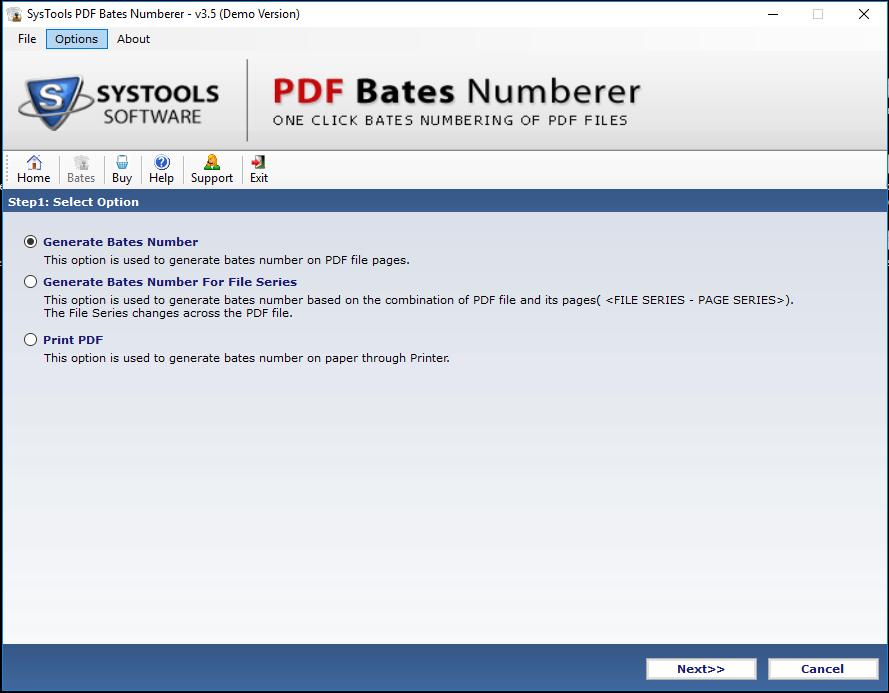 Generate Bates Number Option