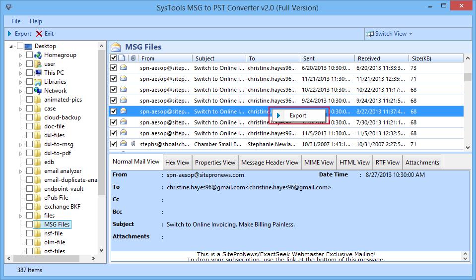 single or selective msg files