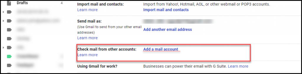 Add mail account option