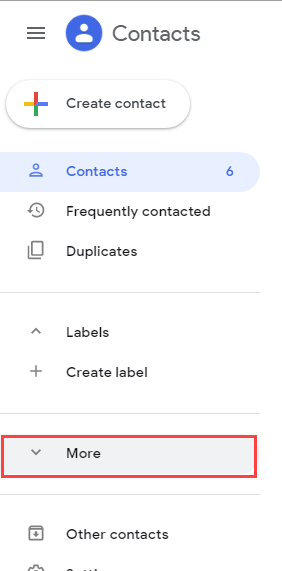 more option in Google Contacts