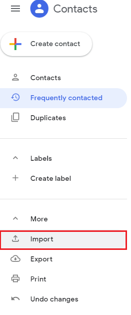 Import option in Google contacts
