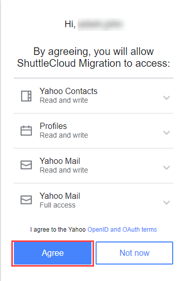 Click Agree to access Yahoo by Gmail