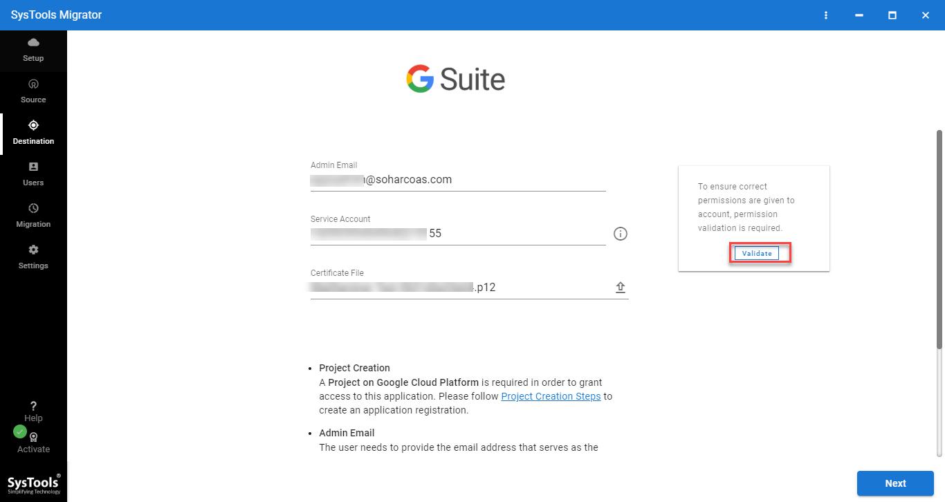 destination G Suite validation