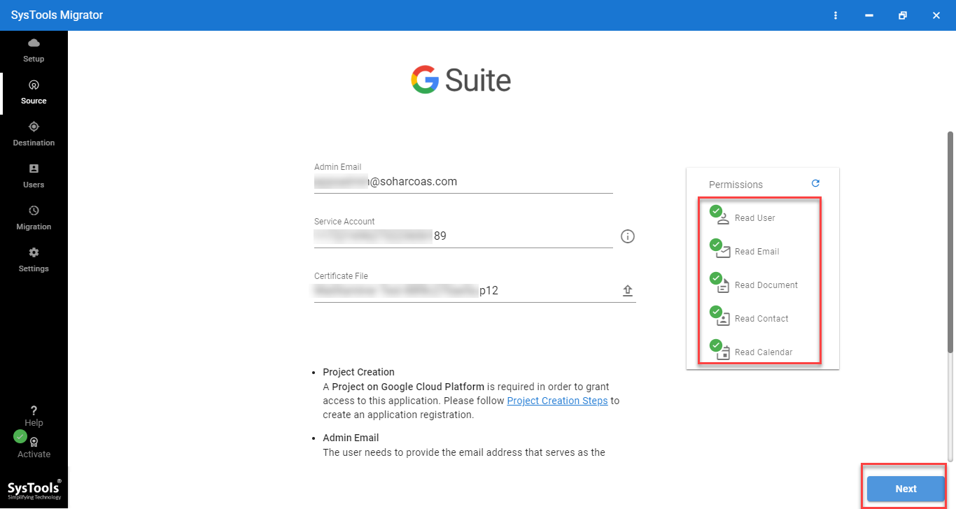 source G Suite validation