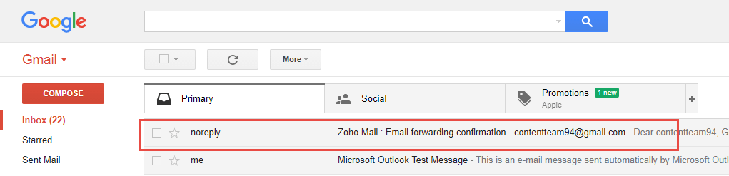 Export emails from Zoho to Gmail