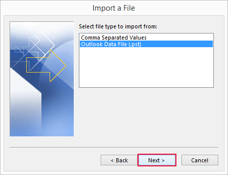 transfer outlook pst file to new computer