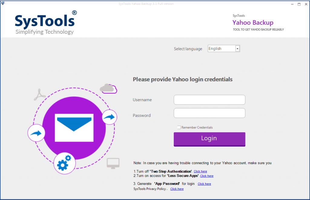 run yahoo backup tool