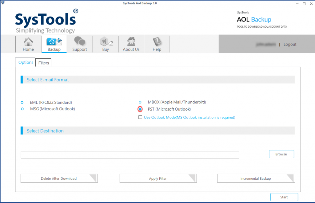 select Outlook file to export aol emails