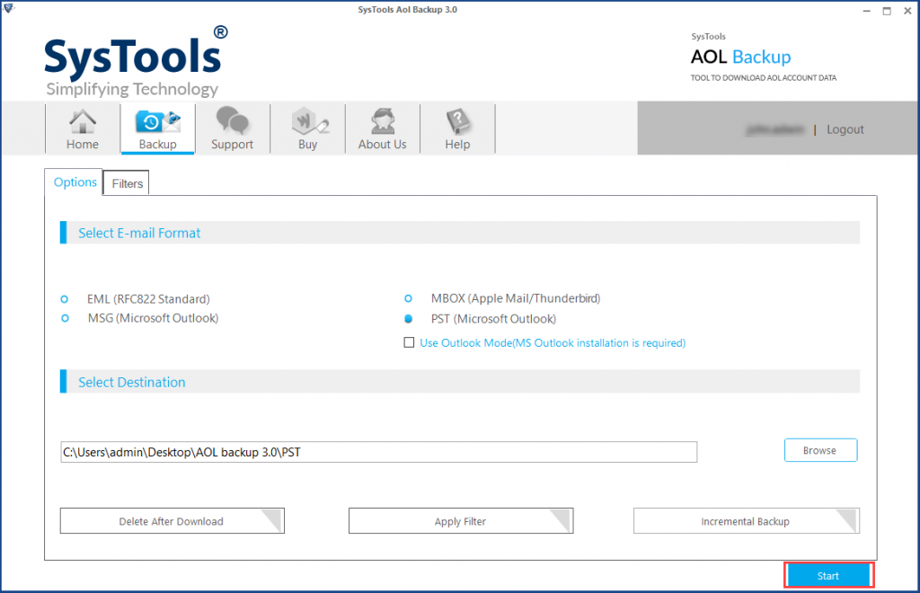 start aol to outlook conversion process