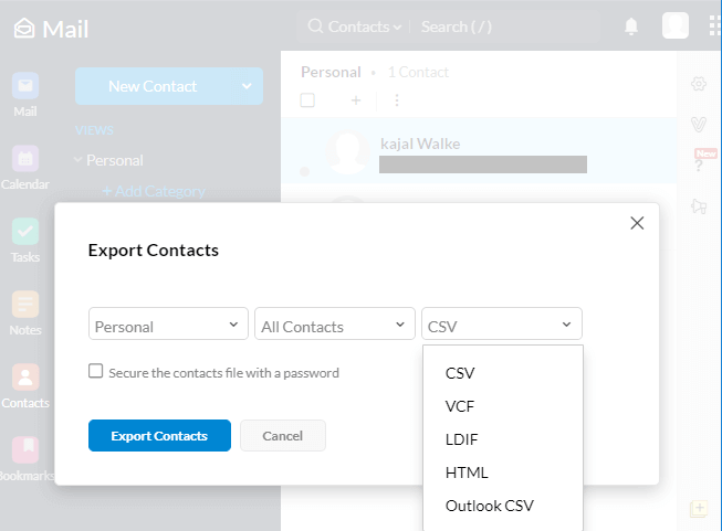 Export Zoho Contacts