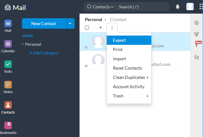 Zoho Export Contacts