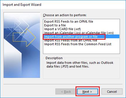 import pst files