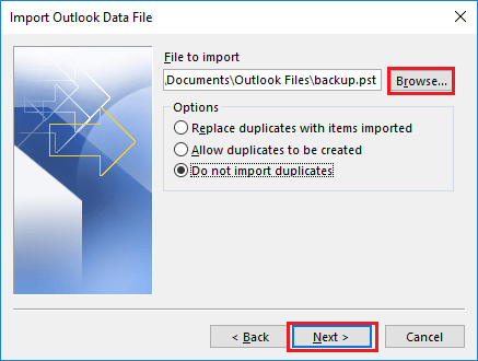 import and consolidate pst files