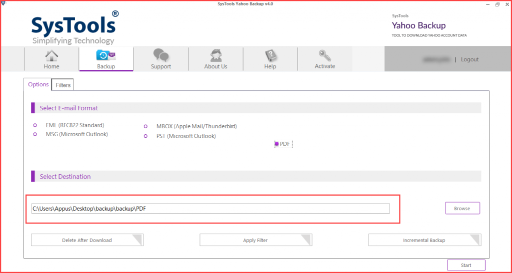 browse location to save yahoo email in pdf file