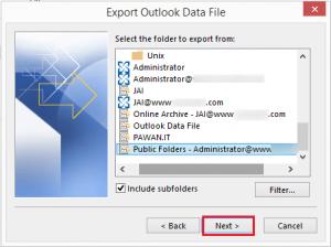 select exchange public folder