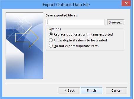 export list eml files by date range