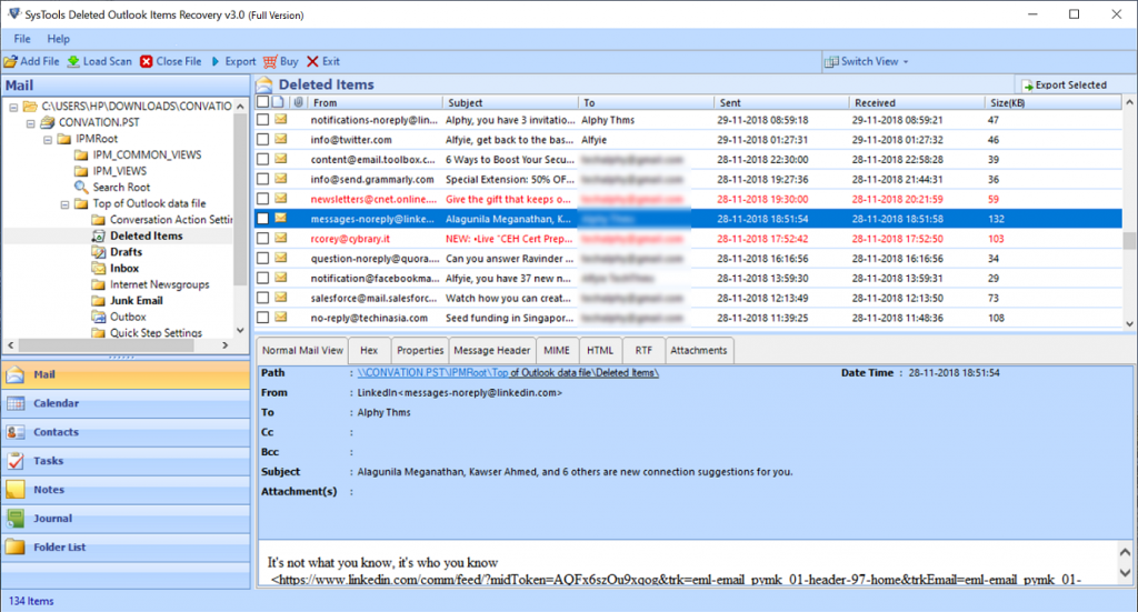 outlook 2010 deleted item recovery