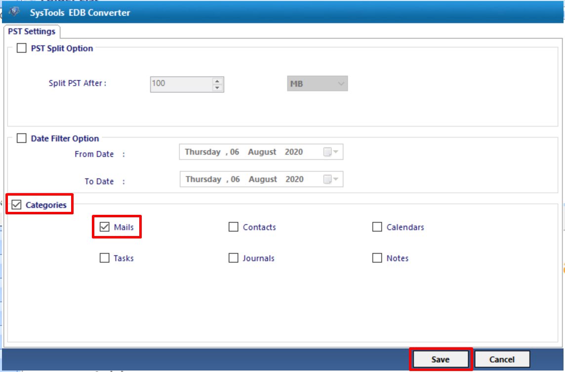 select mails and click on save button
