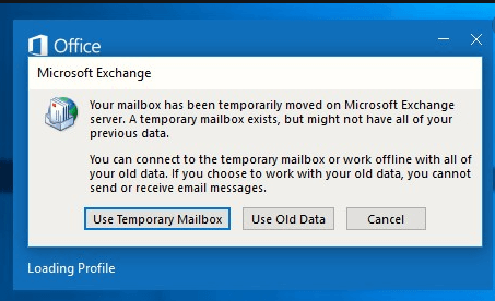 Your Mailbox Has Been Temporarily Moved To Microsoft Exchange Server