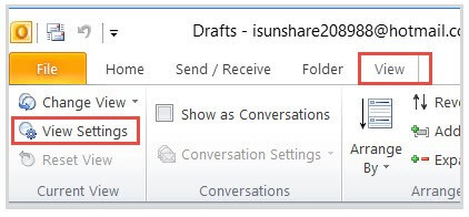 View Settings - Outlook Incoming Emails Disappearing