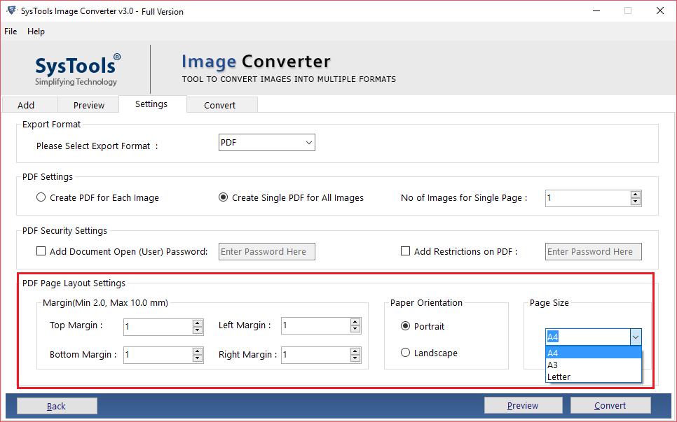 pdf page setting